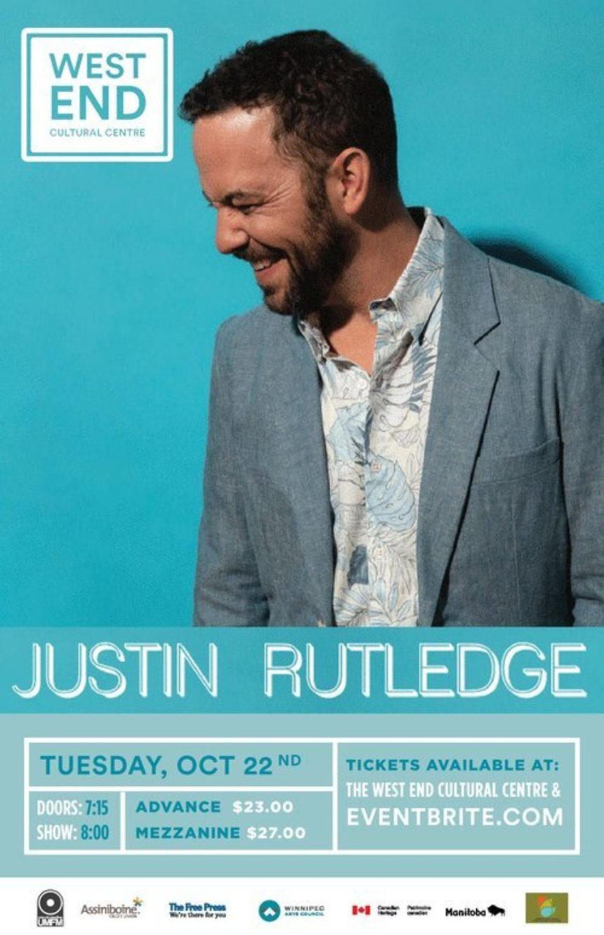 The West End Cultural Centre and UMFM presents Justin Rutledge with special guest, Charlotte Cornfield
