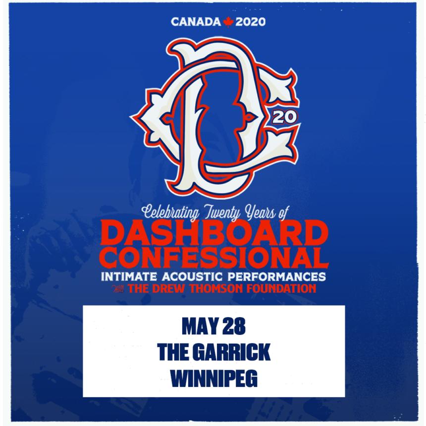 The Winnipeg Folk Festival and The Garrick Centre presents Dashboard Confessional's 20th Anniversary Tour